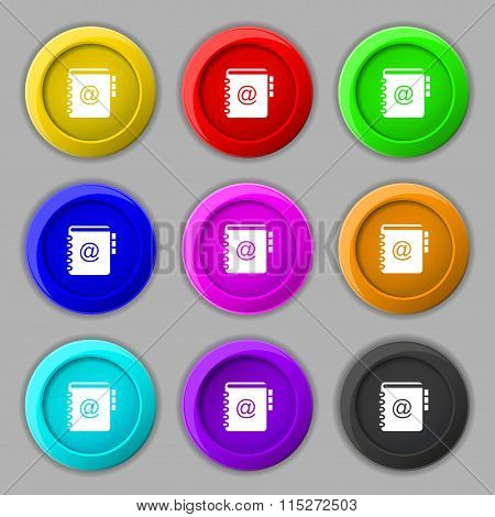 Notebook, Address, Phone Book Icon Sign. Symbol On Nine Round Colourful Buttons. Vector
