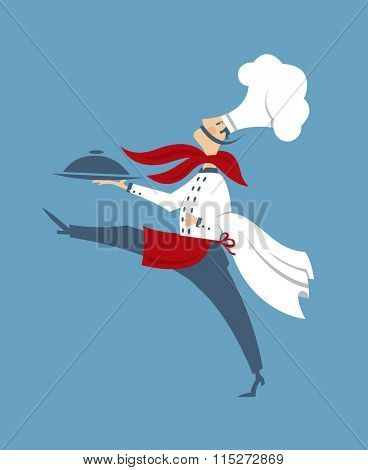 flat illustration of chef with a dish in hand