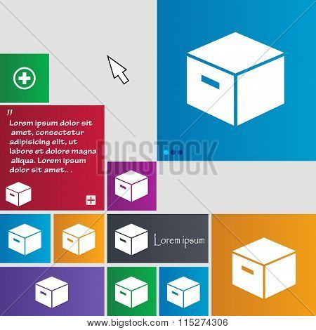 Packaging Cardboard Box Icon Sign. Buttons. Modern Interface Website Buttons With Cursor Pointer.