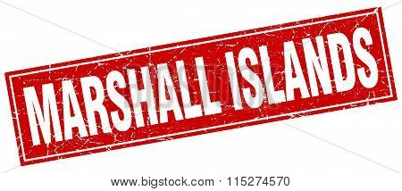 Marshall Islands red square grunge vintage isolated stamp