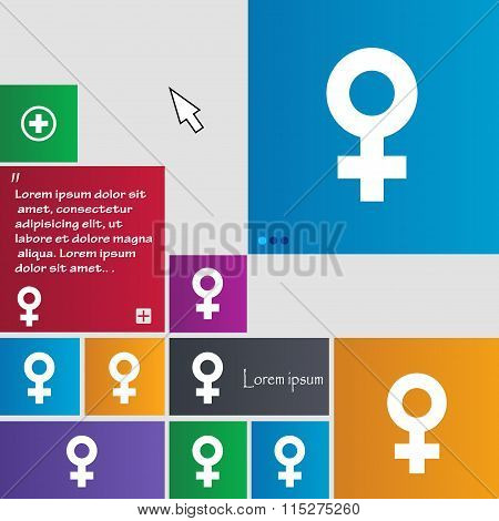 Female Icon Sign. Buttons. Modern Interface Website Buttons With Cursor Pointer.