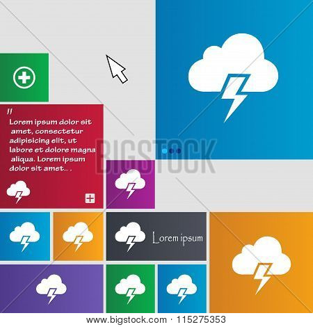 Heavy Thunderstorm Icon Sign. Buttons. Modern Interface Website Buttons With Cursor Pointer.