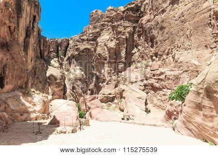 The Siq, the narrow slot-canyon that serves as the entrance passage to the hidden city of Petra, Jordan,