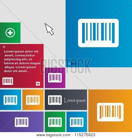 Barcode Icon Sign. Buttons. Modern Interface Website Buttons With Cursor