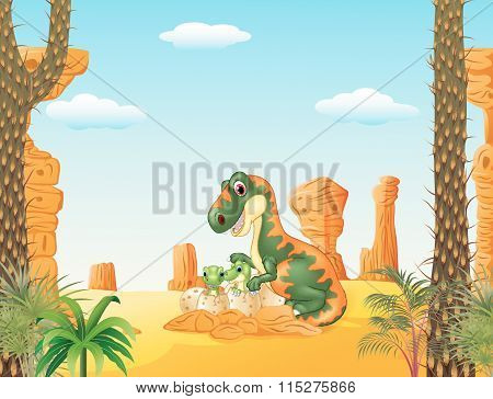 Mother tyrannosaurus with baby hatching