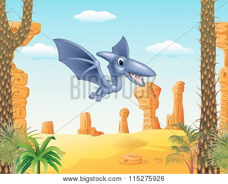 Cute pterodactyl flying with prehistoric background