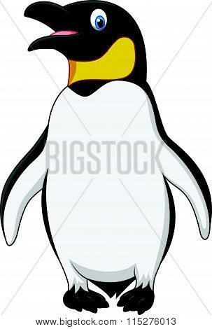 Cute emperor penguin standing isolated on white background