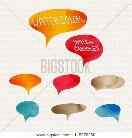 Vector set of quote forms template. Colorful bright backgrounds. Watercolor frame. Blank colorful speech bubbles. Business template for text information and print design.