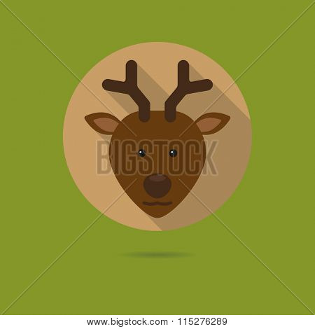 Flat design icon of cute deer face