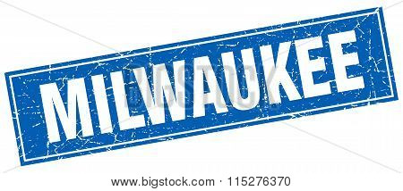 Milwaukee blue square grunge vintage isolated stamp