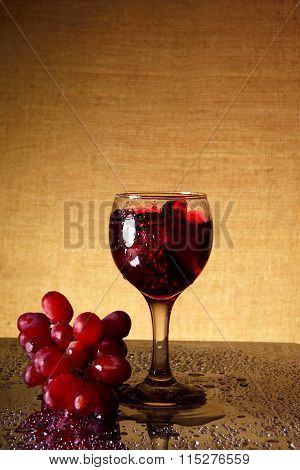 Sparkling Wine And Bunch Grapes