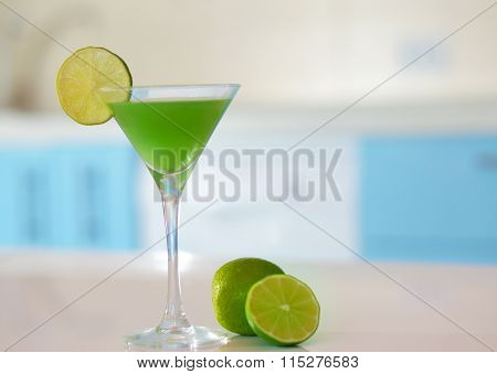 Margarita Cocktail With Slice Of Lime