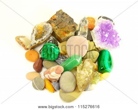 Semi-precious Minerals On White Background