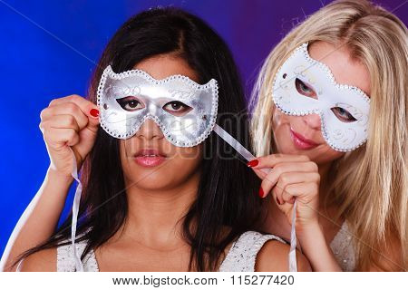 Two Women Face With Carnival Venetian Masks