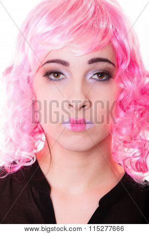 Woman With Pink Wig Creative Visage Portrait