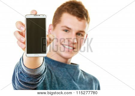 Young Man Showing Black Blank Phone Screen