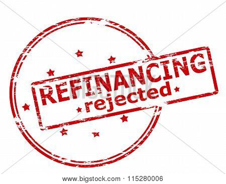 Rubber stamp with text refinancing rejected inside vector illustration