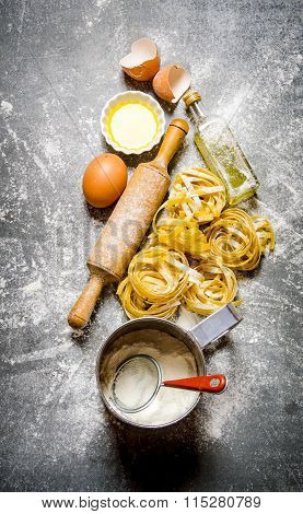 The Preparation Of Pasta And Ingredients.