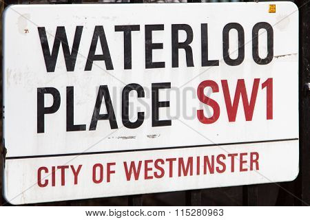 Waterloo place road sign in Central London