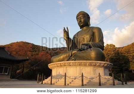 Bronze statue of Buddha at Gakwonsa Temple, South Korea