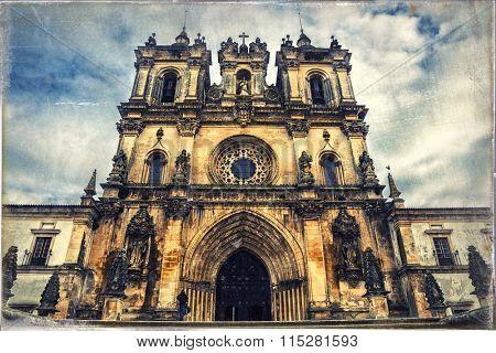 impressive medieval  Monastery in Alcobaca, Portugal. Retro style picture