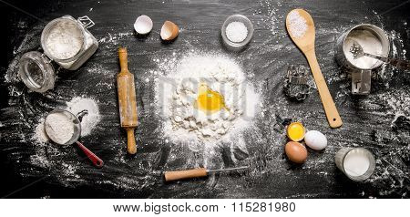 Preparation Of The Dough . Ingredients For The Dough - Flour, Eggs And Tools - Rolling Pin, Sieve, W