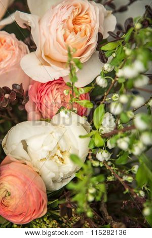 Close-up of a beautiful flower arrangement with peonies