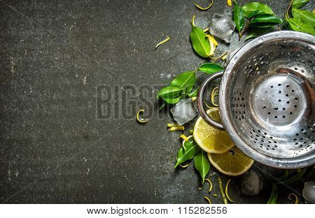 Empty The Pot With Leaves, Sliced Lemon , Zest And Ice Around.