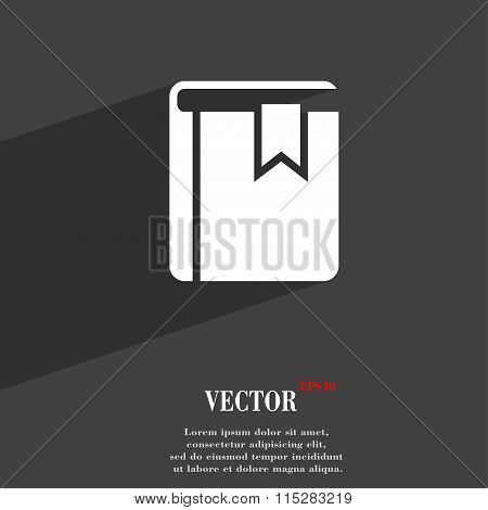 Book Bookmark Symbol Flat Modern Web Design With Long Shadow And Space For Your Text.