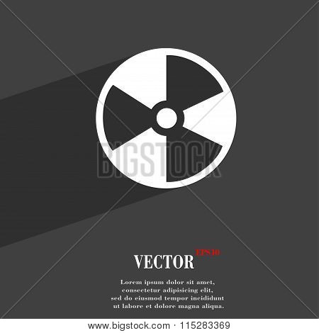 Radioactive Symbol Flat Modern Web Design With Long Shadow And Space For Your Text.