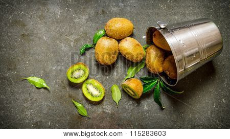 Fallen Bucket With Kiwi Fruit And Leaves.