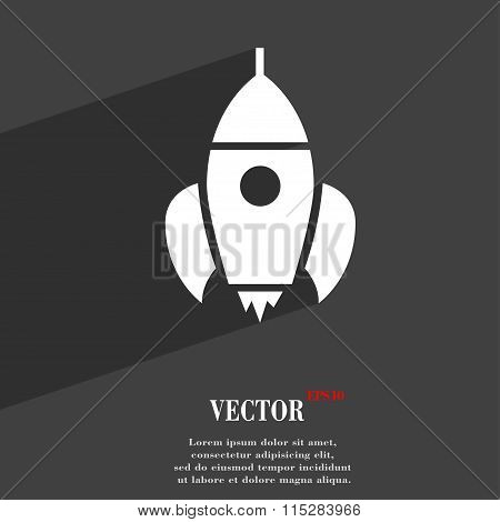 Rocket Symbol Flat Modern Web Design With Long Shadow And Space For Your Text.