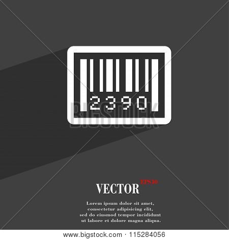 Barcode Symbol Flat Modern Web Design With Long Shadow And Space For Your Text.