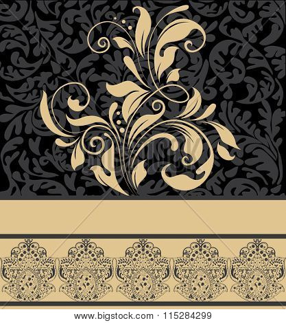 Vintage invitation card with ornate elegant retro abstract floral design, pale orange flowers and leaves on gray and black background with ribbon text label. Vector illustration.