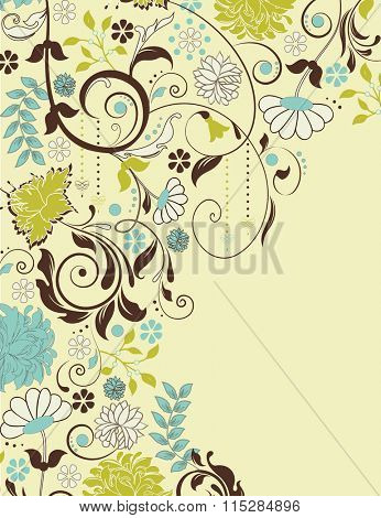 Vintage invitation card with ornate elegant retro abstract floral design, multicolored flowers and leaves on light yellow background with text label. Vector illustration.