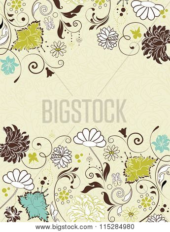 Vintage invitation card with ornate elegant retro abstract floral design, multicolored flowers and leaves on pale yellow green background with text label. Vector illustration.