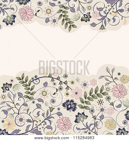 Vintage invitation card with ornate elegant retro abstract floral design, multicolored flowers and leaves on pale yellow background. Vector illustration.