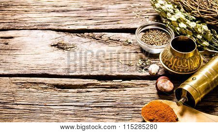 Mill With Aromatic Spices And Herbs .