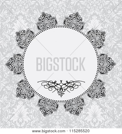 Vintage invitation card with ornate elegant retro abstract floral design. Vector illustration.