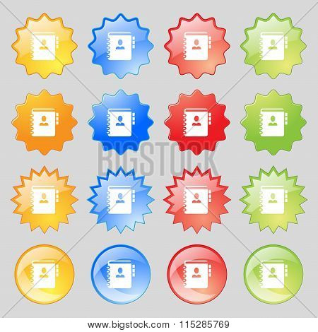 Notebook, Address, Phone Book Icon Sign. Big Set Of 16 Colorful Modern Buttons For Your Design.