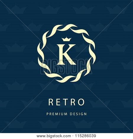 Monogram Design Elements, Graceful Template. Elegant Line Art Logo Design. Letter Emblem K. Retro Vi