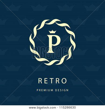 Monogram Design Elements, Graceful Template. Elegant Line Art Logo Design. Letter Emblem P. Retro Vi