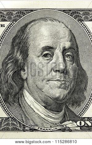 Benjamin Franklin. Hundred Dollar Bill Close-up Fragment