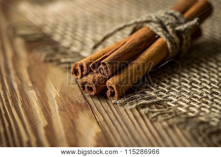 Bunch Of Cinnamon Sticks Tied With Twine, Selective Focus