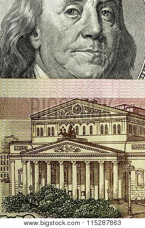 Hundred Rubles And One Hundred Dollars. Close Up