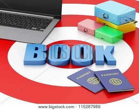 3D Laptop Pc, Travel Suitcase And Passport