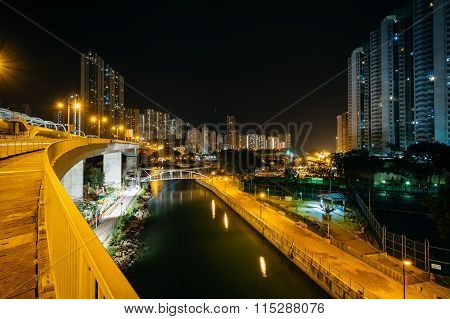 View From The Ap Lei Chau Bridge At Night, In Hong Kong, Hong Kong.