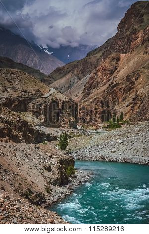 Gilgit river and road above