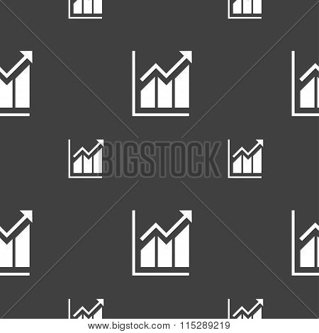 Growing Bar Chart Icon Sign. Seamless Pattern On A Gray Background.