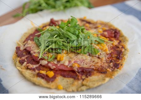 Healthy pizza with quinoa crust